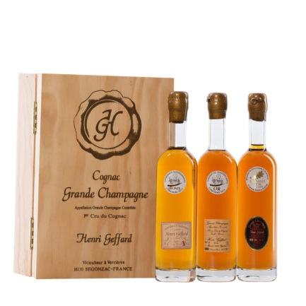 wein-phantasien • Geffard • Cognac • Probier-Holzkasten • 3 X 200 Ml