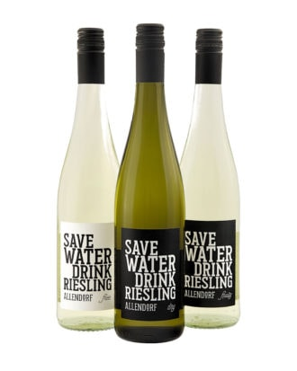SAVE WATER DRINK RIESLING • dry, fruity & free • 3er Set • 0,75 Liter Flasche • (9,33 € / l)