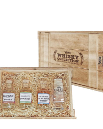 3er Whiskey-Probeset in Holzkiste mit Branddruck